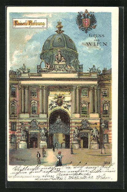 Lithographie Wien, Eingang zur Kaiserl. Hofburg 0
