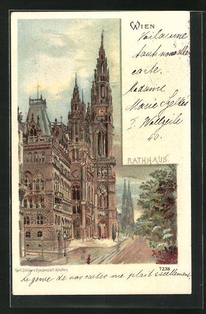 Lithographie Wien, Strassenpartie am Rathaus 0