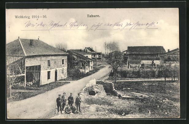 AK Tahure, Zerstörte Häuser im Ort