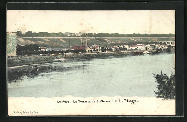 AK Le Pecq, La Terrasse de St-Germain et la Plage