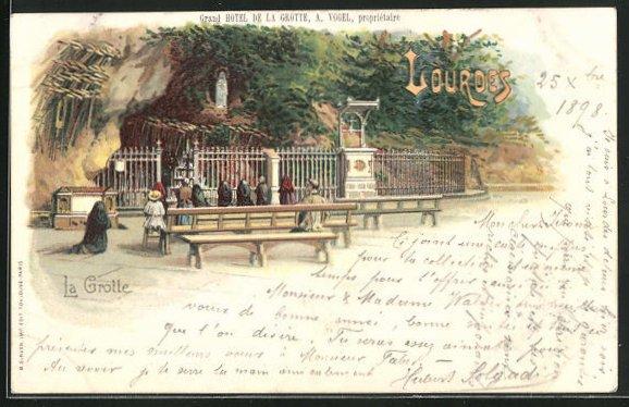 Lithographie Lourdes, Personnes devant la Grotte