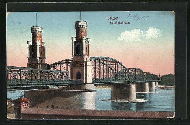 AK Thorn / Torun, An der Eisenbahnbrücke