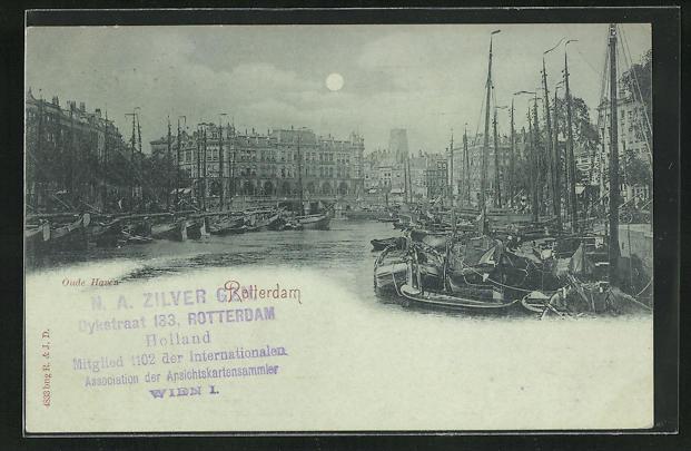 Mondschein-AK Rotterdam, Blick in den Hafen