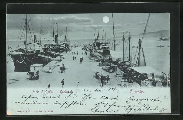 Mondschein-AK Trieste, Molo S. Carlo - Karlsmolo