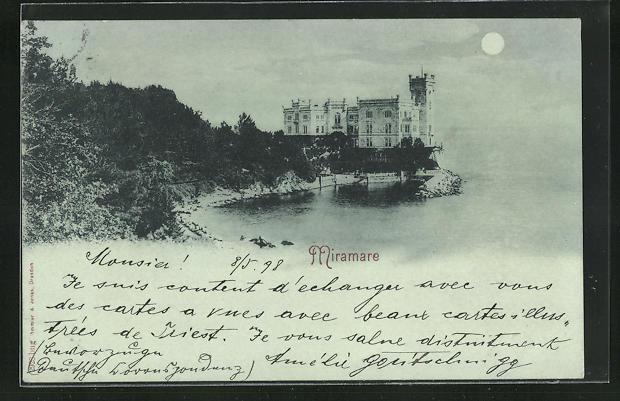 Mondschein-AK Miramare, Blick auf Schloss