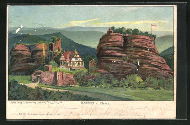 Lithographie Hochbarr, Bergformation mit Haus
