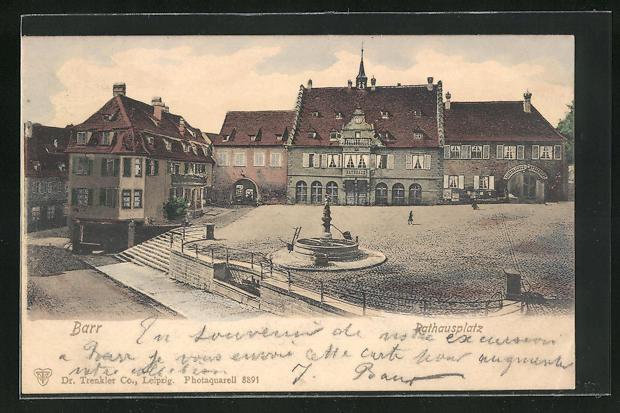 AK Barr, Rathausplatz mit Brunnen