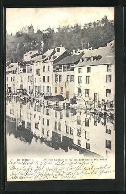 AK Luxembourg, L`Alzette baignant la rue des Tanneurs au Pfaffenthal