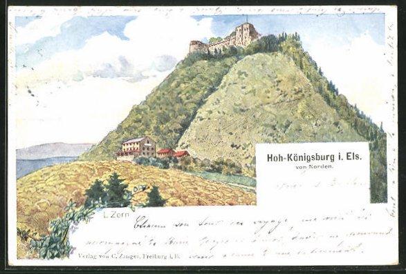 Künstler-AK Hoh-Königsburg i. Els, Ortsansicht von Norden
