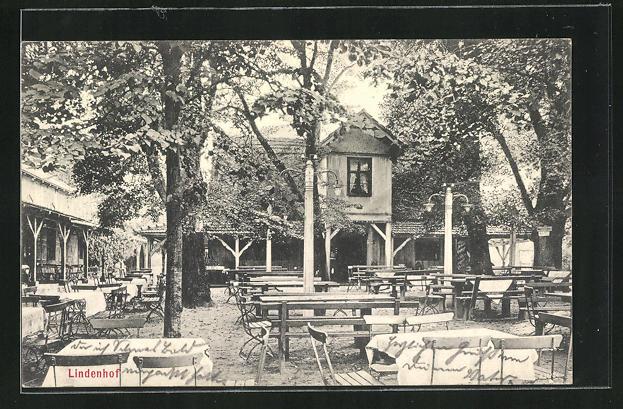 AK Stettin, Gasthaus Lindenhof, Gartenansicht