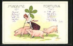 Künstler-Lithographie Hans Starcke: Madame Fortuna, Glücksschweine, Klee