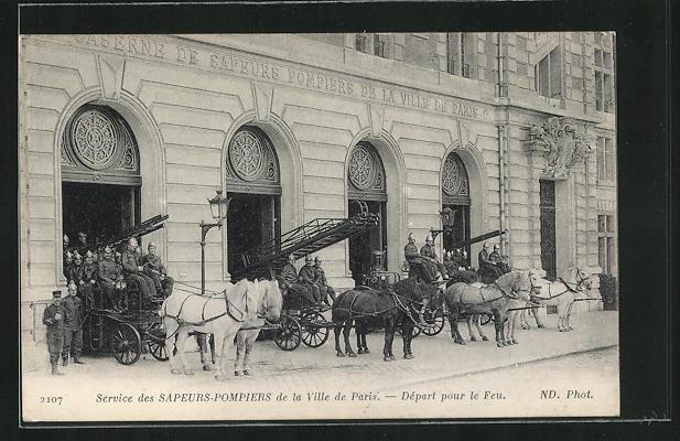 AK Paris, Sapeurs-Pompiers, Départ pour la Feu, Feuerwehr, Leiterwagen