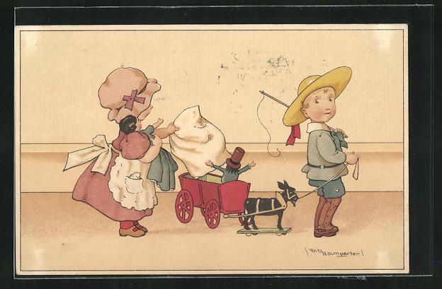 Künstler-AK Fritz Baumgarten: Kinder mit Puppen und Wagen