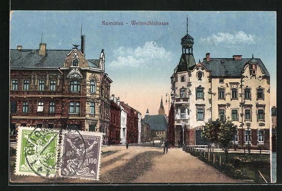 AK Komotau / Chomutov, Blick in die Weitmühlstrasse