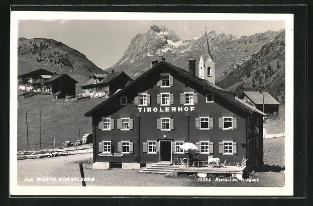 AK Warth, Motiv vom Alpengasthof Tirolerhof 0