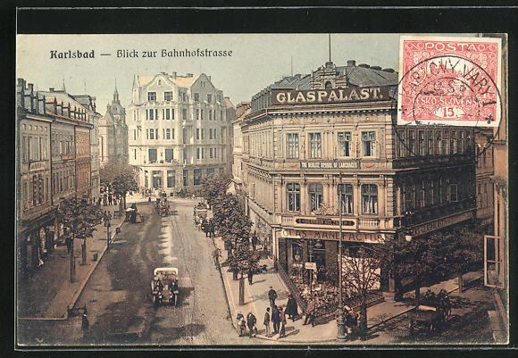 AK Karlsbad, Blick zur Bahnhofstrasse, Glaspalast