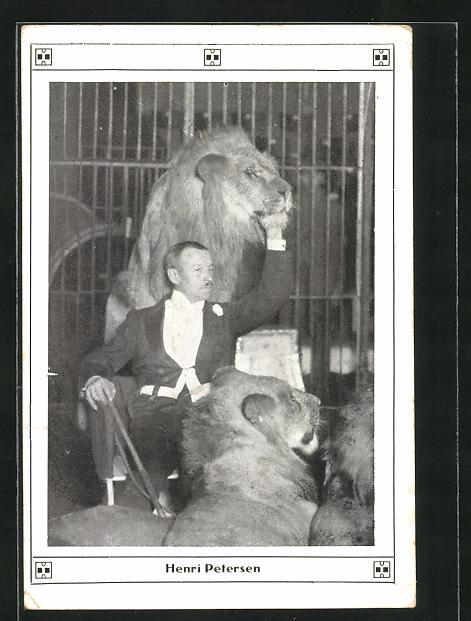 AK Henri Petersen, Raubkatzendompteur, Löwe, Zirkus