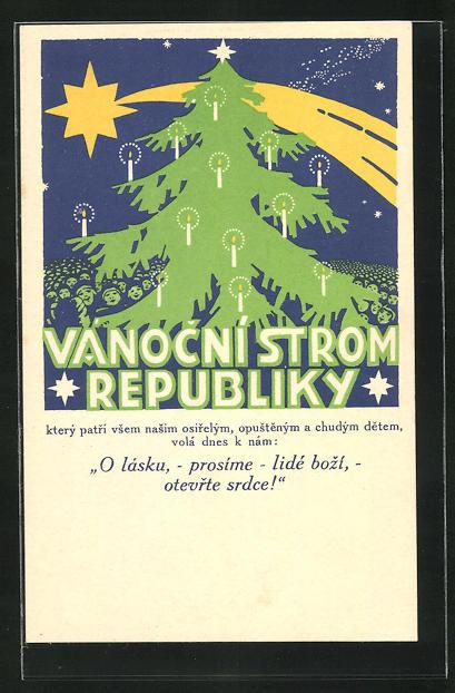 AK Vanocní Strom Republiky, Kinderfürsorge, Weihnachten, Tschechien, Art Deco