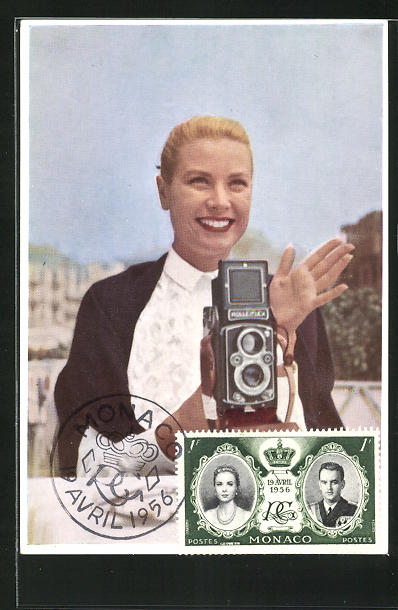 AK Grace Kelly, Princesse de Monaco, Portrait mit Rolleiflex-Kamera