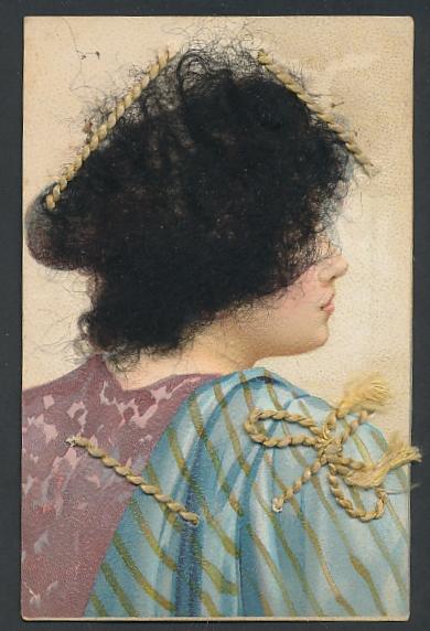 Echt-Haar-AK Junge hübsche Frau mit krausem dunklem Haar