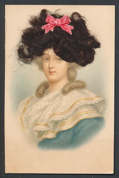 Echt-Haar-AK Hübsche junge Frau mit roter Schleife im Haar