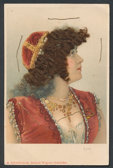 Echt-Haar-AK Orientalin mit dunklen Locken und Haube