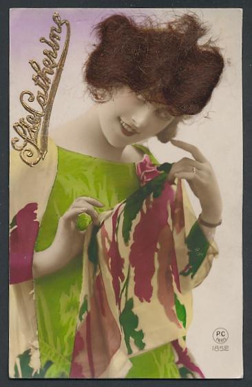 Echt-Haar-AK Ste. Catherine, Schöne Frau mit brünetten Locken 0