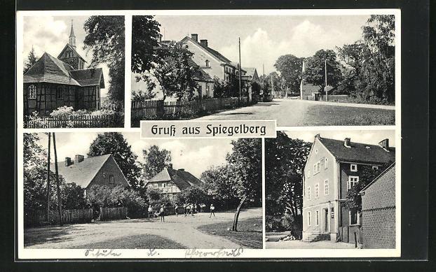 AK Spiegelberg / Sternberger Land, Kirche, Ortspartien