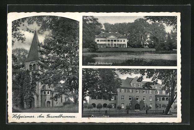 AK Hofgeismar, Am Gesundbrunnen, Schloss Schönburg, Pensionshaus 0