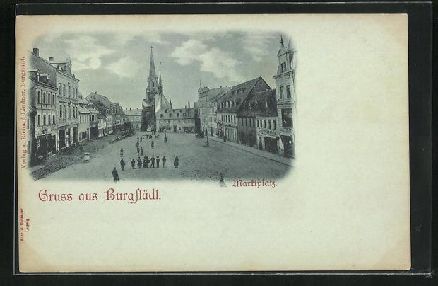 Mondschein-AK Burgstädt, Blick über den Marktpatz 0