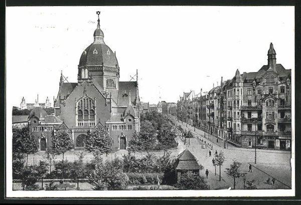 AK Kattowitz, August Schneider-Strasse mit Synagoge