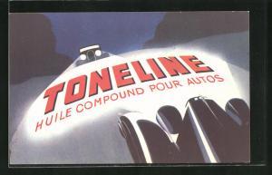 AK Auto im Licht der Scheinwerfer, Reklame für Toneline, Huile Compound pour Autos, Bauhaus, Avantgarde