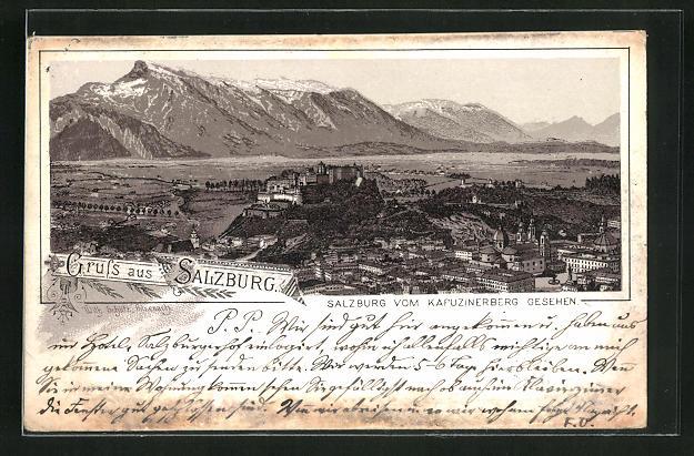 Vorläufer-Lithographie Salzburg, 1892, Ortsansicht vom Kapuzinerberg aus gesehen