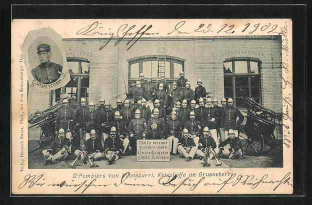AK Strassburg, Pompiers vun Kroneburri, Kenishoffe un Grueneberri, Gruppenbild der Feuerwehr