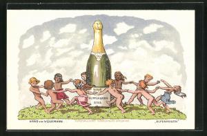 Künstler-AK Hans von Volkmann: Kinder tanzen Ringelreihen um eine Flasche Kupferberg Gold, Reklame