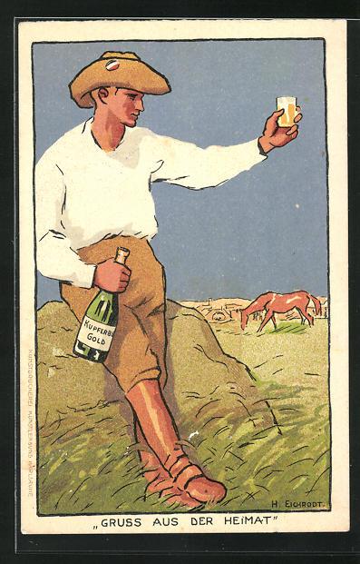 AK Rancher blickt auf seine Pferde und hält ein Glas Wein, Reklame für Kupferberg Gold, Schutztruppe