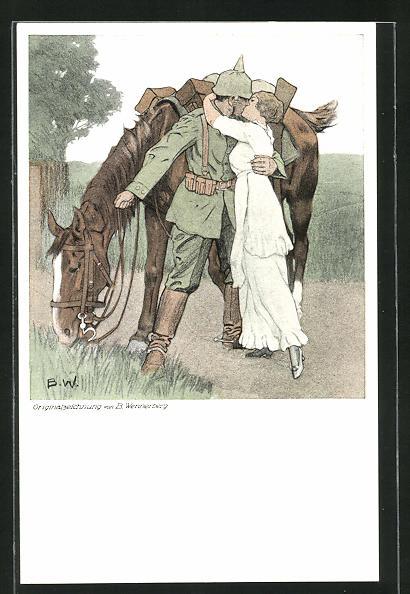 Künstler-AK Brynolf Wennerberg: Soldat küsst Maid