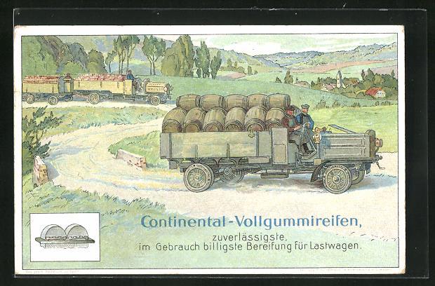 AK Reklame für Continental-Vollgummireifen, Lastkraftwagen transportiert Fässer