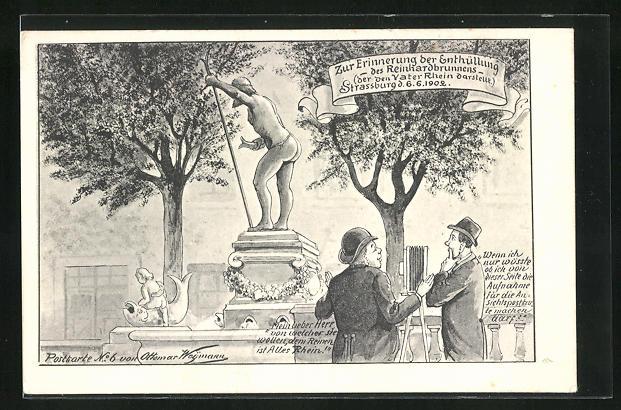 AK Strassburg, Enthüllung des Reinhardbrunnens 1902, Ansichtskartengeschichte