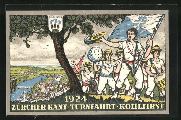 AK Flurlingen, Zürcher Kant. Turnfahrt 1924, Teilnehmer auf dem Kohlfirst, Wappen