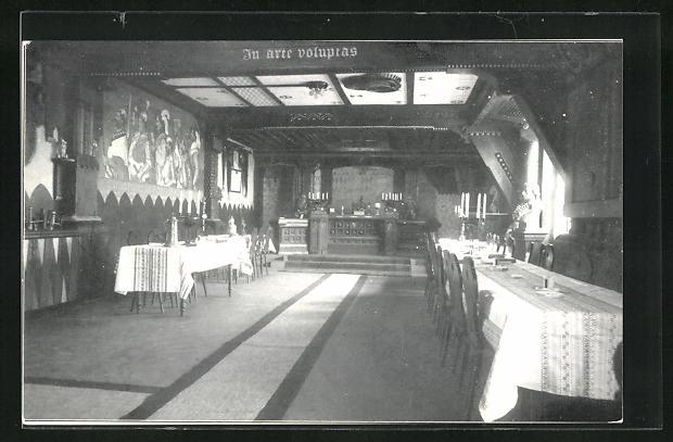 AK Zürich, Schlaraffia Turicensis, Burgansicht mit Thron
