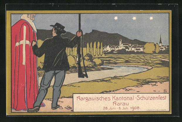 AK Aarau, Aargauisches Kantonal-Schützenfest 1908, Mann mit Gewehr und Blick zur nächtlichen Stadt 0