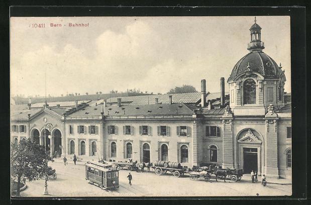 AK Bern, Blick zum Bahnhof, Strassenbahn