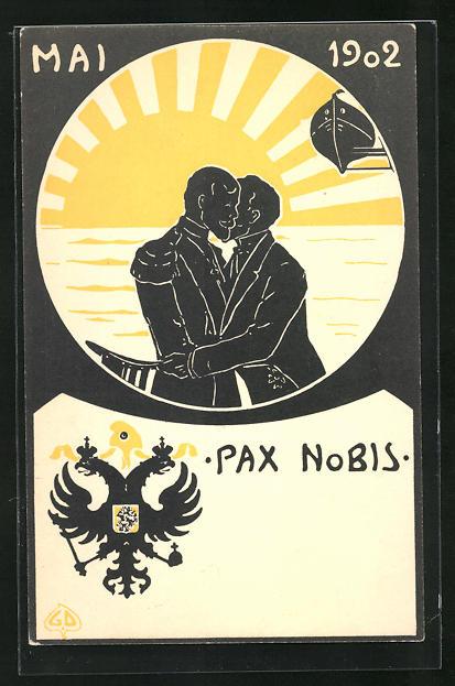 AK Zar Nikolaus II. von Russland u. Präsident Loubet von Frankreich umarmen sich vor aufgehender Sonne, Pax 1902, Wappen