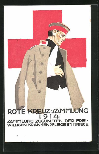 Künstler-AK Ludwig Hohlwein: Verwundeter Soldat, Rote Kreuz Sammlung 1914, Ganzsache Bayern PP 38 C7 /01