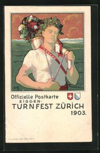 AK Zürich, Eidgen. Turnfest 1903, Teilnehmer mit Siegerkranz, Wappen