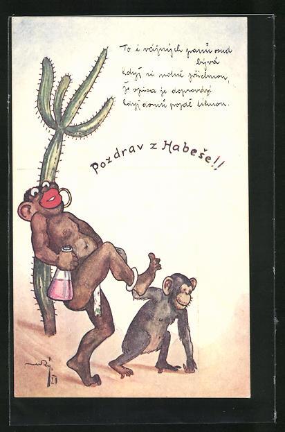 AK Vermenschlichte Affen mit grossen roten Lippen, Kolonialismus
