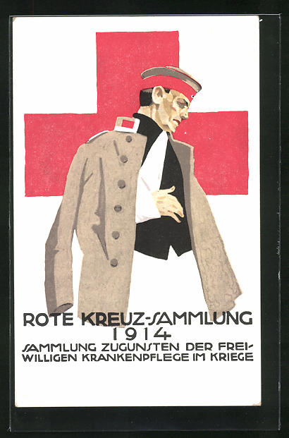 Künstler-AK Ludwig Hohlwein: Verwundeter Soldat, Rote Kreuz Sammlung 1914