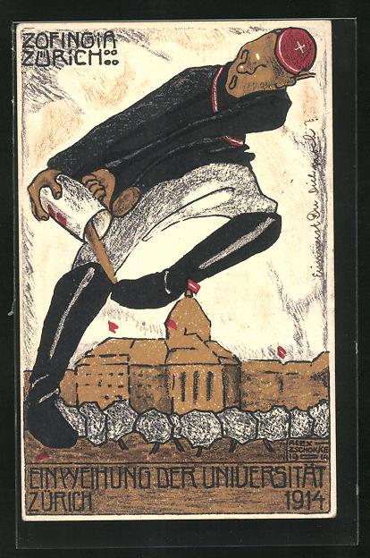 AK Zürich, Einweihung der Universität 1914, Student leert einen Becher über der Anlage aus, studentische Szene