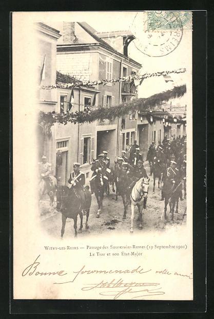 AK Witry-les-Reims, Passage des Souverains Russes 1901, Zar von Russland